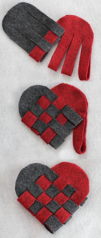 Плетёное сердечко из фетра