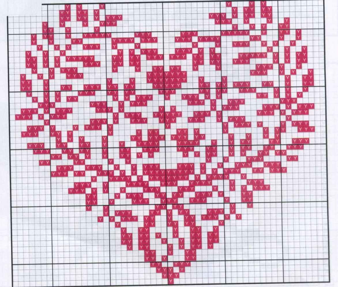 Схема вышивки крестом валентинок