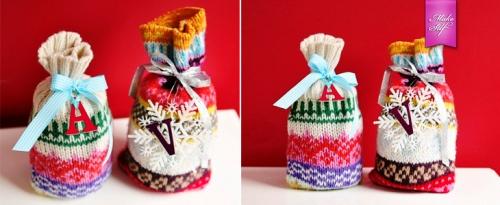 Упаковки для подарков из старых свитеров