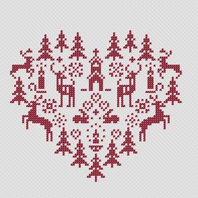 сердечко, вышивка крестом