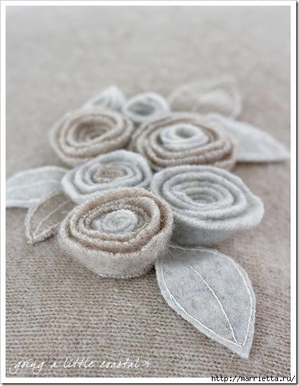 цветы из старого свитера