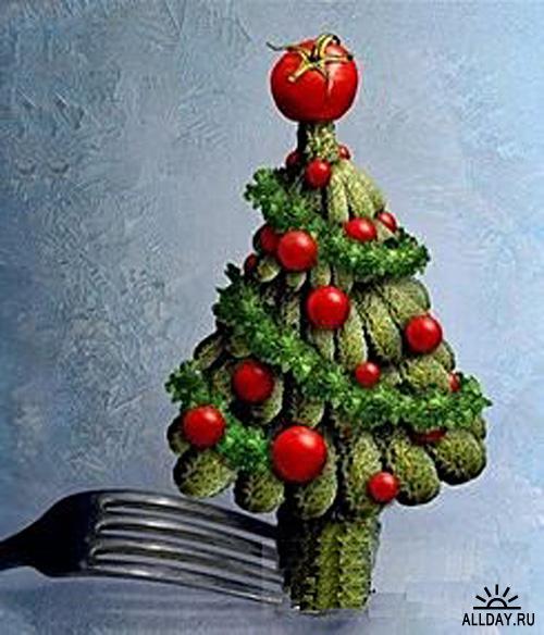 Новогодняя ёлка из огурцов и помидоров
