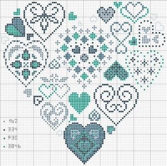 вышивка крестом ко дню влюблённых