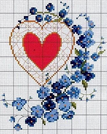 сердечки, вышивка крестом